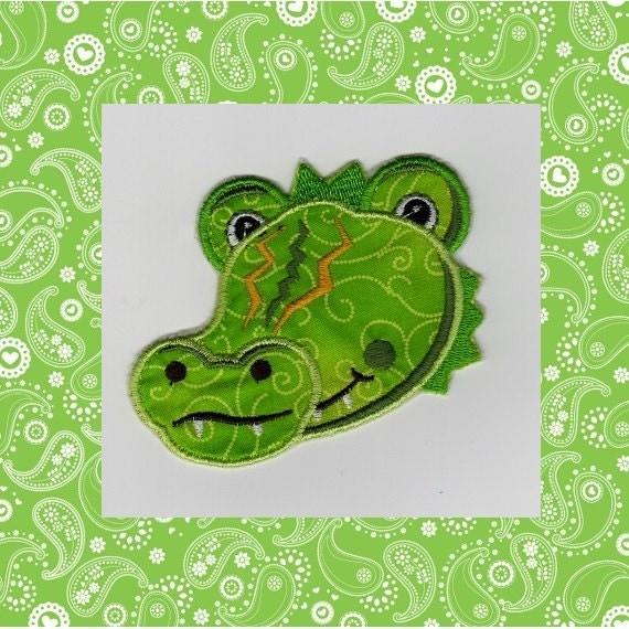 Alligator Applique Embroidery Design Instant Download  |Alligator Design Embroidery Floss