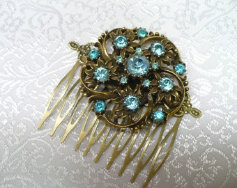 Vintage Bridal Hair Comb - bronze setting and comb - blue RHINESTONES - vintage WEDDING - somethine BLUE for the bride - bridesmaid comb