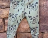 Organic Baby leggings,baby boy leggings, baby leggings, bear leggings,infant leggings, organic cotton leggings, printed leggings
