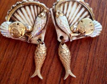 Vintage Fired Fantasies Hollywood Regency treasures of the sea  Earrings