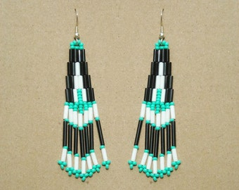 Native American Indian Earrings in Black, White and Turquoise - Handbeaded Made to Order