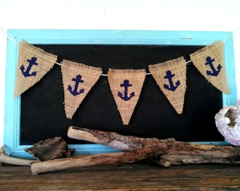 Anchor Burlap Banner Nautical BuntingTriangle Pennant Summer Beach Party Sign Home Decor