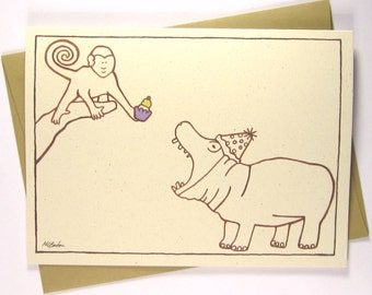 Funny Birthday Card - Monkey Feeding Hippo a Cupcake - Recycled Illustrated Card (1038)