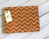 Chevron Design with name Wooden Cutting Board