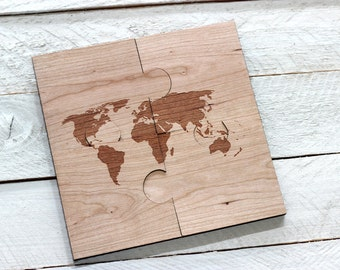 World Map Puzzle Coasters - Set of 4, Engraved Solid Wood Jig Saw