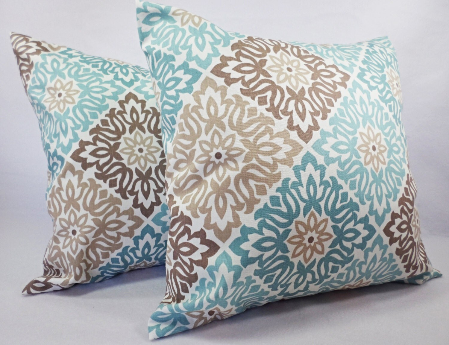 Decorative Pillows For Blue Couch : Blue Pillow Covers Blue and Brown Throw by CastawayCoveDecor