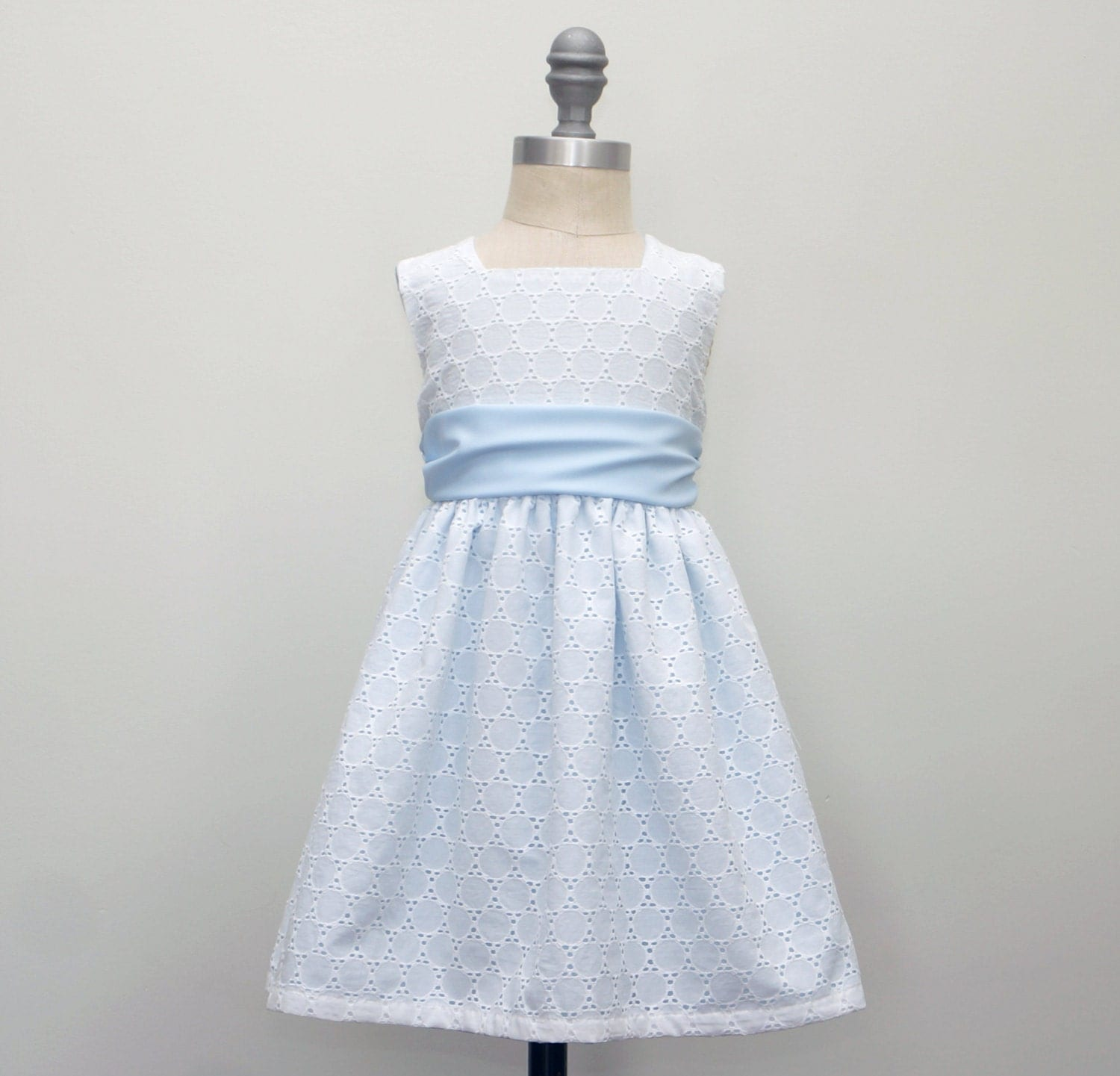 Girls White Eyelet Dress