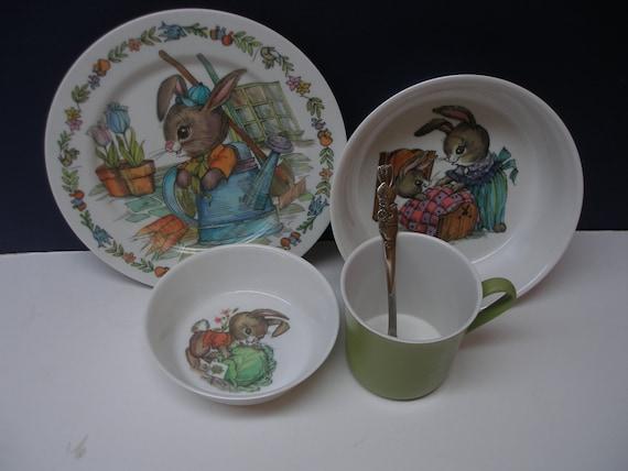 Sale Oneida Peter Rabbit Melamine Plastic Childs Dish Set