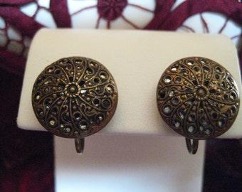 Antique Brass Filigree Button Earrings