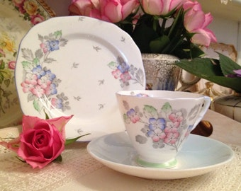 Vintage Royal Stafford bone china mismatched vintage tea cup and saucer and side plate/tea cup trio in pale blue.