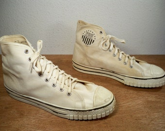 Vintage Pro Basketball BBall Tan Canvas High Top Shoes Sneakers Men's Made in USA Size 8.5