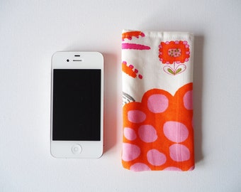 Phone sleeve for iPhone 5 and 5S, pink and orange phone cover