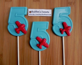"Number FIVE ""AIRPLANE"" Chocolate Pops (12) - (1-9 Available!) AIRPLANE Birthday/Plane Favors"
