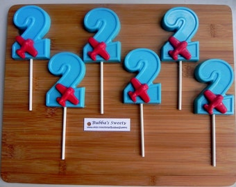 "Number TWO ""AIRPLANE"" Chocolate Pops (12) - AIRPLANE Favors/Airplane Party Favors"