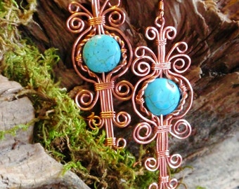 turquoise Howlite wire wrapped earring. copper. wire wrapped jewelry handmade