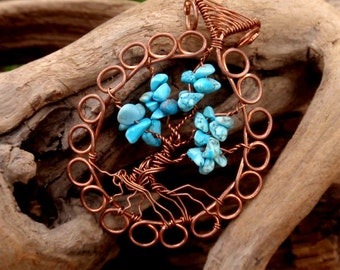 turquoise  tree of life. wire wrapped tree. copper. wire wrapped jewelry handmade