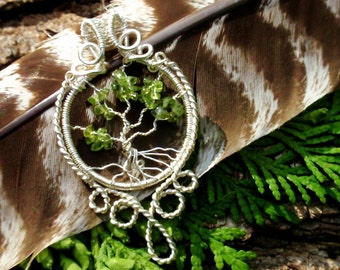 silver tree of life. wire wrapped tree. copper. peridot. wire wrapped jewelry handmade