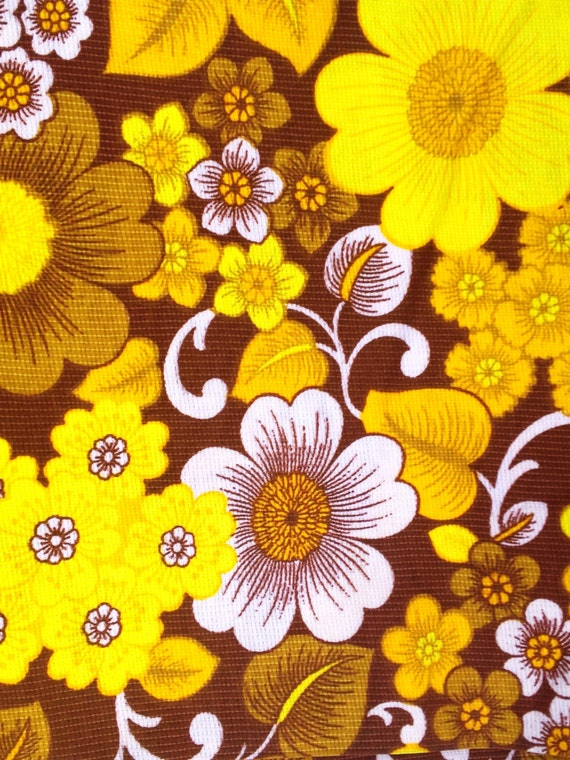 70s retro mod vintage fabric in yellow and orange. Made in