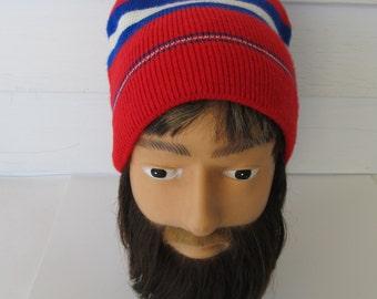 Vintage, 1980's, Ski Hat, Beanie, Horizontal Stripes