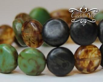 Czech Coin Puffed Bead Green/Black/Amber (613)
