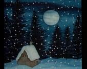 Winter Cabin Watercolor Painting Notecard - Blank Inside - Card