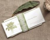Garden Wedding Invitation in Sage Green and Brown - Tea Length (Initial Deposit)