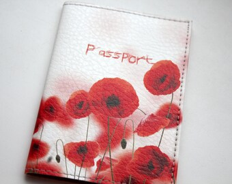 Leather Passport Cover - Passport holder - Passport Wallet - Passport Case - Travel wallet - Leather passport cover - Passport - Red Poppys