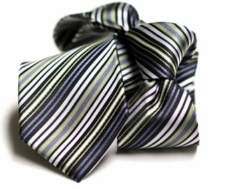 Tie (3 inch) in Stripes with Green, Grey, Black, White