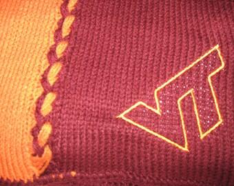 Virginia Tech Hokies Hand Knitted Afghan / blanket/ Maroon and Orange