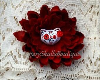 Day of the Dead, Sugar Skull Accessory, Dia de los Muertos Kitty Cat, Halloween Costume Hair Clip Flower,  Pin Up  Hair Flower