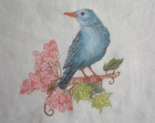 Table Linen Placemat - Painted bird Placemat, ready to ship - ArtistaToscano