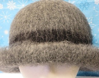 Hat Wool Felted Grey Black Band Rolled Brim