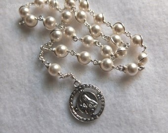 Wire Wrapped Handmade St. Therese of Lisieux Chaplet Genuine Swarovski White Pearls Sterling Silver Filled Wire Silverplate Medal