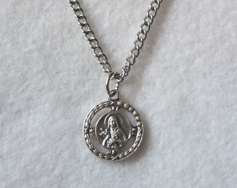 "St Therese of Lisieux on an 18"" Stainless Steel Necklace Chain Clasp Religious Catholic Medal Charm Silver Oxidized Pendant Little Flower"