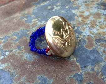Vintage Military Button Ring
