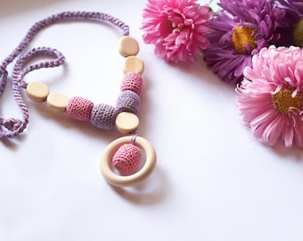 Pink and violet Breastfeeding Nursing Necklace with Wooden ring - Breastfeeding Jewelry
