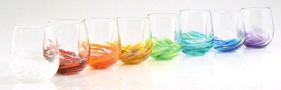 Hand blown stemless wine glass votive set of 4 pick by glassometry - Hand blown stemless wine glasses ...