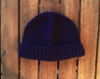navy purl cap