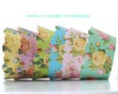 MADE TO ORDER Shabby Chic Colorful Floral Cupcake Wrappers- Set of 12