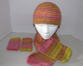 SALE - Young Adult Crochet Hat, Scarf, and Hand Warmers