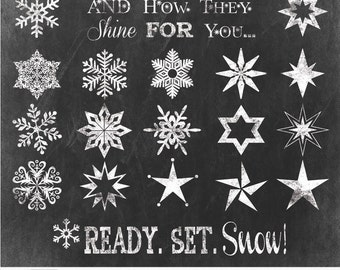 "Christmas Chalk Cliparts ""SNOWFLAKE & STARS Clip Art"" chalk clipart, winter clipart, blackboard perfect for photographers, invitations"