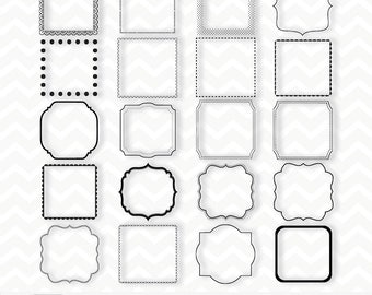 "Clipart ""Black SQUARE FRAMES Clipart"" 20 frames/labels, overlays, belly belt, photographers, albums, wedding invitations & scrapbooking"