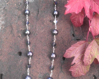 Pearl & Austrian Crystal Necklace in Sterling Silver