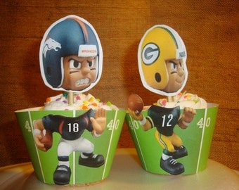 Denver Broncos cupcake wrappers and toppers-set of 12