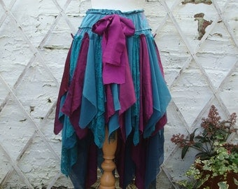 SALE Upcycled Skirt Teal Purple Tribal Print Woodland Mori Girl Forest Tattered Alternative Fashion High Low