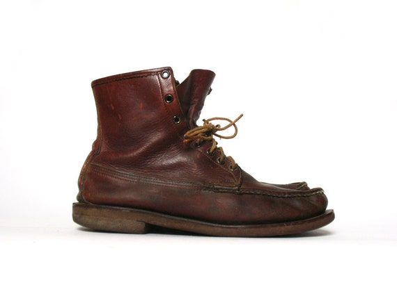 s w c leather moccasin boots by rusticrivergoods