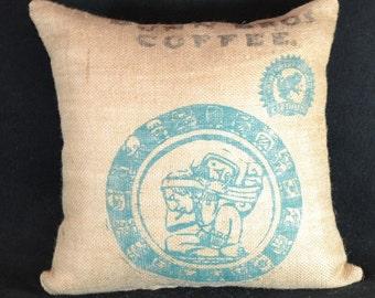 Burlap pillows decorative pillow throw pillow cover  Authentic Dunn Bros Coffee burlap bag