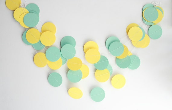 Wedding Garland, Mint Green & Yellow, Bridal Shower, Baby Shower, Home Decor, Wedding Decorations, Party Decorations