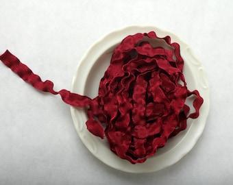Maroon Ribbon - 3/8 Inch Double Ruffle Wine Ribbon -  5 Yards