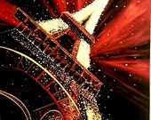 Large unique perspective painting of the Eiffel Tower by Pamela Henry, Paris, vibrant, reds, lights. landmarks